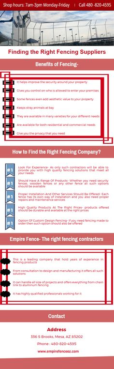Finding the Right Fencing Suppliers  This is a leading company that hold years of experience in fencing products. From consultation to design and manufacturing it offers all such solutions. It can handle all size of projects and offers everything from chain link to aluminum fencing.  For more details visit: http://empirefenceaz.com/custom-designed-fencing