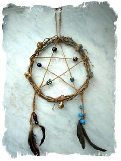 Making the Pentacle Dreamcatcher - a talisman for protection   using hag stones