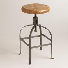 These are available now at WorldMarket.com: Adjustable Round Wood and Metal Stool they adjust from table height to bar height.