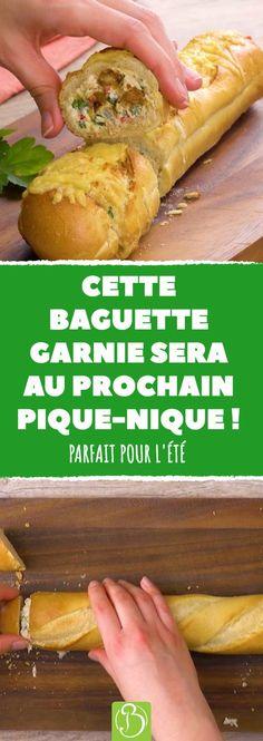Voici 3 recettes de baguette garnie qui vous caleront bien pour les après-midis d'été ! #baguette #pain #pique #nique #sandwich #fromage
