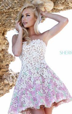 Sherri Hill 11053 Floral Cocktail Dress i love the idea of flowers all over it.. but i would like it to be long and with a corset.. with a bit of a tail and sparkles at the top.  #TopshopPromQueen