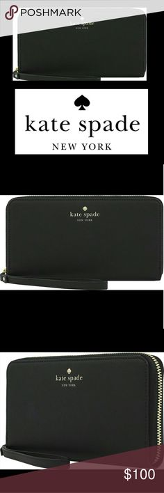 """NEW! Kate Spade Wristlet Take all you need for a night out in this kate spade new york wristlet, which features dedicated storage for your smartphone as well as cash and credit card storage, so you can keep everything in one place. Able to store an fits both galaxy and iphone. Mint condition. Measures just larger than 7.5""""?4""""  Check out my closet for more great items! I offer bundle discounts and welcome offers! kate spade Bags Clutches & Wristlets"""