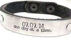 Men's Or Women's Black Leather Bracelet. Sobriety Jewelry - Recovery Bracelet.