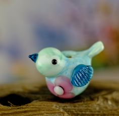 Mae.... lampwork bird bead.. sra by DeniseAnnette on Etsy