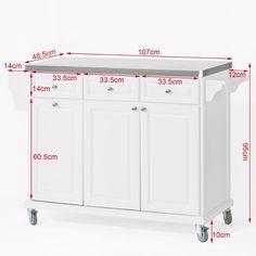 SoBuy® Carrito de cocina con piso de acero, estantería de cocina, carrito de servir de alta calidad, blanco, FKW33-W, ES: Amazon.es: Hogar