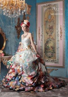 Stella de Libero Floral Printed Ball Gown Wedding Dress for Victorian Steampunk Wedding
