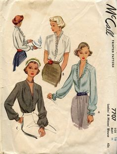 1940's McCall 7707 blouse pattern