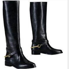 RALPH LAUREN POLO Jenny riding boots Brand new. Black leather with gold accents. Size 8B Ralph Lauren Shoes