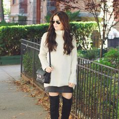 oversized turtleneck and over the knee boots