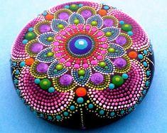 Mandala Stone- MAUVE MANDALA-Hand Painted