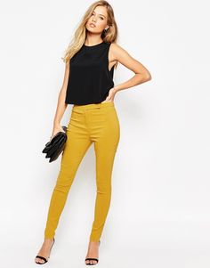 ASOS High Waist Trousers in Skinny Fit