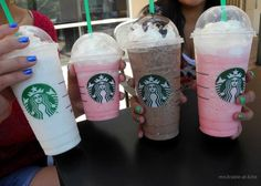 Vanilla bean, cotton candy , and double choc chip frappucinos