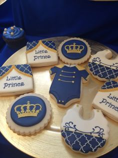 Stunning cookies at a Royal Prince baby shower! See more party ideas at… Shower Party, Baby Shower Parties, Baby Shower Themes, Shower Ideas, Shower Favors, Shower Invitations, Prince Birthday Party, Boy Birthday, Prince Party