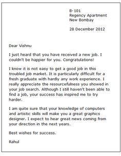 New Job Congratulation Letter - Here is a congratulations note example you can send (via email or mail) to someone who had found a new job.