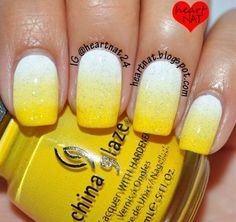 17 Trendy Yellow Nail Art Designs for Summer: #10. Glitter Yellow Nail Design