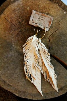 Leather Feather Long Bone Earrings, Lambskin and fringe with custom ear wires by melody Feather Jewelry, Feather Earrings, Diy Earrings, Stud Earrings, Bohemian Jewelry, Fringe Earrings, Earrings Handmade, Silver Jewelry, Leather Accessories