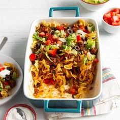 Contest-Winning Taco Casserole Recipe: How to Make It | Taste of Home Stuffed Shells Recipe, Stuffed Pasta Shells, Noodle Casserole, Casserole Recipes, Filled Pasta, Refried Beans, Food Dishes, Main Dishes, How To Cook Pasta