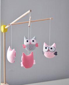Baby Mobile Owl Mobile Nursery Decor Baby por SewManUniverseMaster