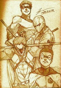 Nightwing, Red Hood, Red Robin, Robin