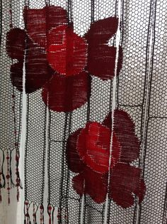 Whispers of Passion bobbin lace curtain (detail) - Kitty Mason