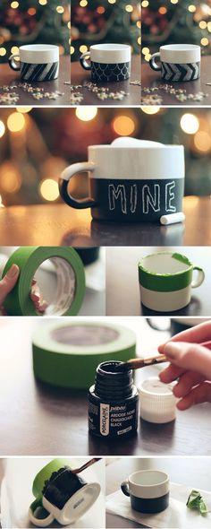 chalk on a mug.. love this idea