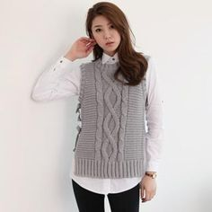 I PENNY  Wool Blend Tie-Side Cable-Knit Vest