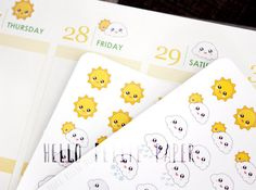 Weather planner stickers  35 TINY functional by HelloPetitePaper
