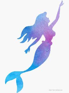 """Mermaid Watercolor"" Stickers by darrianrebecca Cute Mermaid, The Little Mermaid, Little Mermaid Silhouette, Mermaid Shirt, Mermaid Artwork, Little Mermaid Wallpaper, Mermaid Wallpapers, Mermaid Bedroom, Watercolor Mermaid"