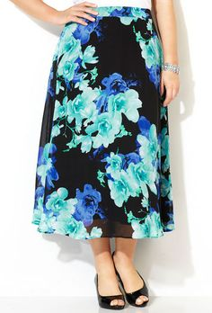 Black and Blue Floral A-Line Skirt,
