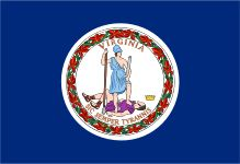 The flag of the Commonwealth of Virginia consists of the seal of Virginia against a blue background. The current version of the flag was adopted at the beginning of the American Civil War in 1861. The flag may be decorated with a white fringe along the fly.[1]