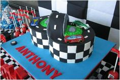 39 Boy's Race Car Birthday Parties - Spaceships and Laser Beams Race Car Birthday, Race Car Party, Cars Birthday Parties, Boy Birthday, Birthday Cakes, Birthday Ideas, Birthday Sayings, Birthday Stuff, Happy Birthday