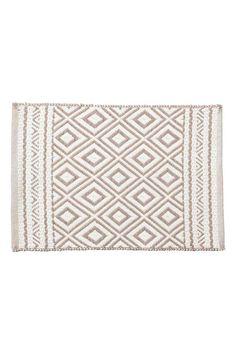Jacquard-weave bath mat - White/Mole - Home All   H&M GB 1