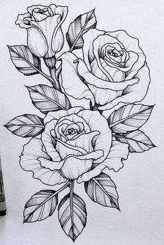 Resultado de imagen para Dagger Knife and Rose Flowers Drawn in Tattoo Style #flowertattoos
