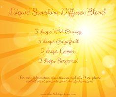 Liquid Sunshine Diffuser Blend #wildorange #grapefruit #lemon #bergamot #essentialoils For more information about the essential oils I use, please contact me at sandra@essentialoilsforhome.com.