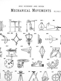 Five Hundred and Seven Mechanical Movements Poster Set image 1 Mechanical Engineering Design, Mechanical Design, Mechanical Projects, Manufacturing Engineering, Industrial Engineering, Mechanical Gears, Five Hundred, Old Tools, Classic Books