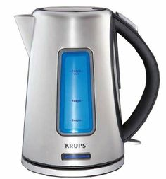 KRUPS BW3990 Prelude Electric Kettle with Blue Lighting Water Level Indicator and Stainless Steel Housing, Silver by Krups. $60.16. Measures approximately 6-1/5 by 6-1/5 by 9-1/5 inches; 2-year worldwide limited warranty; coordinates with Krups Intuitive line:TT6170/6190 Toasters. 360-degree swivel base for cordless serving, washable anti-scale filter. 1.8 quart stainless-steel kettle with 1500-watt concealed heating element. On/off switch with indicator light, water-level ind...