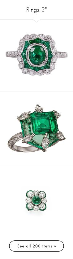 """""""Rings 2*"""" by thesassystewart on Polyvore featuring jewelry, rings, green, deco diamond ring, vintage jewelry, art deco emerald ring, emerald diamond ring, art deco rings, emerald diamond jewelry and diamond jewelry"""