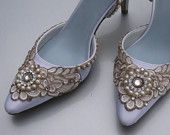 Parisian Sparkle Satin Bridal Wedding Shoes - Any Size - Pick your own shoe color and crystal color. $195.00, via Etsy.