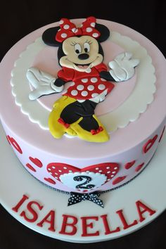 A cute birthday cake with the ever popular Minnie Mouse. The image is made completely from icing, allowed to dry and set as a keepsake. I ha...