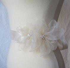 Pale Champagne Bridal Sash Rhinestone Wedding by TheRedMagnolia, $80.00
