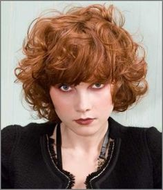 Short Haircut for Curly Thick Ginger Hair Style