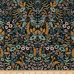 Designed by the famous Rifle Paper Co. for Cotton + Steel, bold colors meet whimsical botanicals in this gorgeous collection. This print features tossed foliage and flowers. This medium weight (6 oz./square yard) cotton blend canvas fabric is truly versatile. It is perfect for tote bags, toss pillows, window treatments, and apparel like skirts and jackets. Colors include black, mint green, jade green, blush pink, white, and metallic gold.