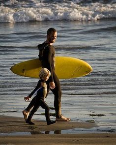 Father and son surf lesson.