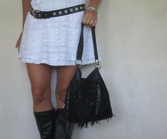 Black sequin fringe bucket bag with adjustable by SmiLeStyles #bohochic #fringe #etsy #purse