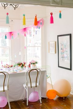 A Colorful Pom Pom Birthday Party - Sugar & Cloth First Birthday Parties, Girl Birthday, Fun Party Themes, Party Ideas, Cute Furniture, Flat Shapes, Party Kit, Easter Crafts For Kids, Craft Stick Crafts