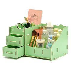 Melife® Creative DIY Makeup Organizer Cosmetic Organizer with Drawers & Storage (Green) Diy Makeup Organizer, Desk Organization Diy, Diy Desk, Organizing, Wood Storage Box, Make Up Storage, Storage Drawers, Desktop Storage, Cosmetic Box