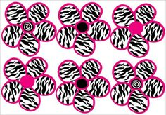 Zebra and pink Bedroom Ideas | Zebra Print, Black and Hot Pink Flowers Wall Stickers,Decals
