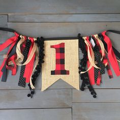 buffalo plaid 1 pennant , perfect for your little lumberjack's first birthday highchair banner by MsRogersNeighborhood Etsy shop