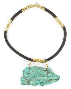 Tony Duquette (American, 1914-1999), 1990s. A turquoise on leather cord with gold plated metal necklace, length 26in (66cm). Sold  for $ 2.440