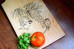 Personalized Cutting Board Birds Wedding gift Chopping block Custom Cutting Board Engraved kitchen bread board serving board cheese butcher by WoodenDecorate on Etsy